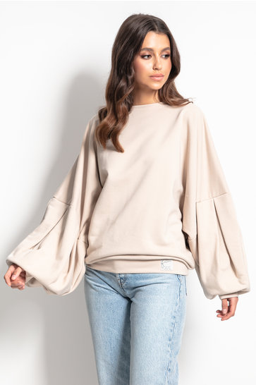 Sweater Puffed Sleeves Cozy Beige