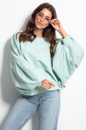 Sweater Cozy Puffed Sleeves Mint