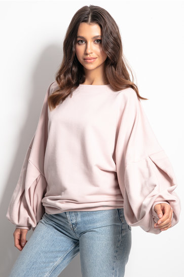 Pull douillet manches bouffantes Blush