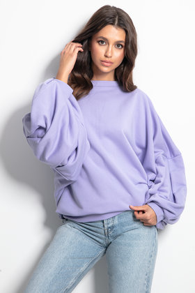 Sweater Cozy Puffed Sleeves Lilac