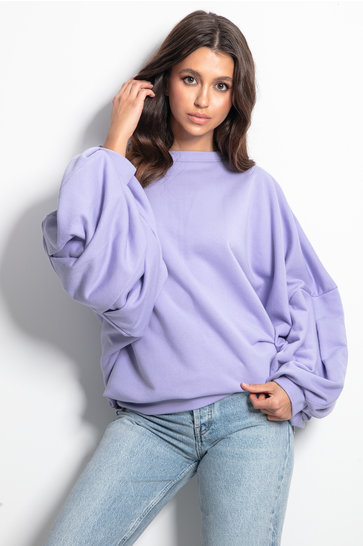 Pull douillet manches bouffantes Lilas