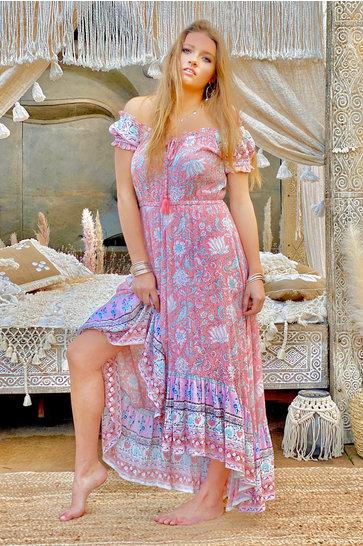 Vestido largo Cara Pink Peach