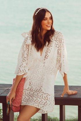 Robe Courte Lupita Oeillet Blanc