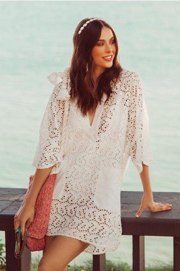 Kurzes Kleid Lupita Öse Weiß