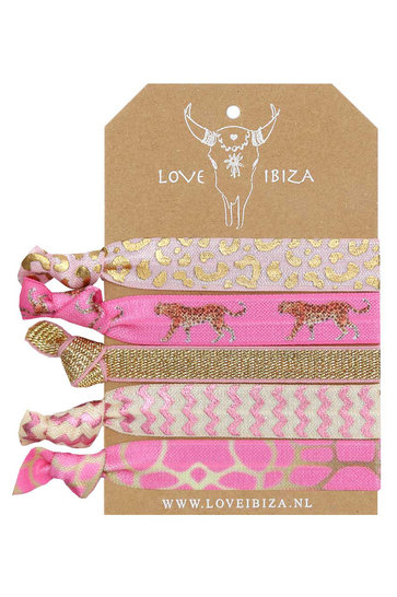 Set Rubber Bands Leopard Pink