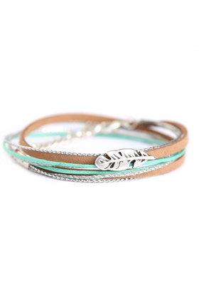 Feather Wrap Mint Armband