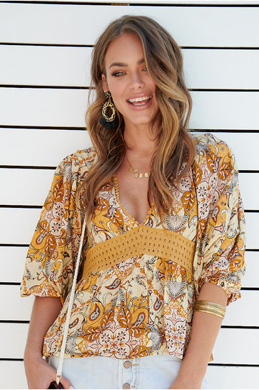 Blouse Golden Glow Sunnyside Ocher yellow