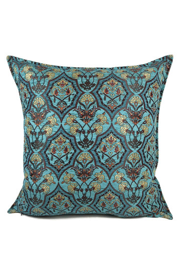 Cushion Flowers Turquoise Petrol 70x70cm
