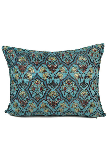 Cushion Flowers Turquoise Petrol 50x70cm