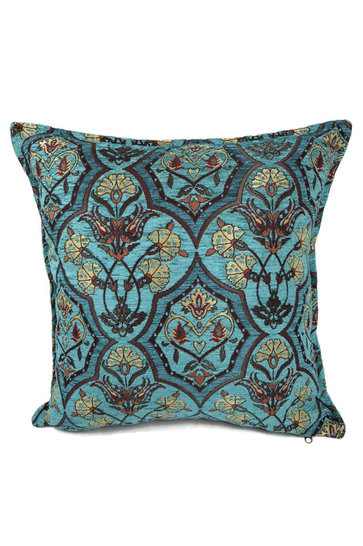 Cushion Flowers Turquoise Petrol 45x45cm