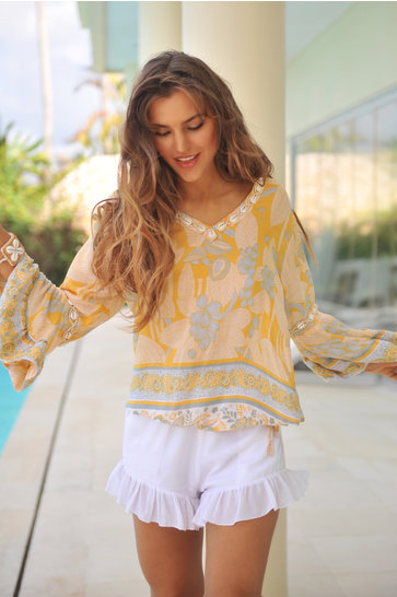 Blusa Antibes Wood Palermo Ocre amarillo