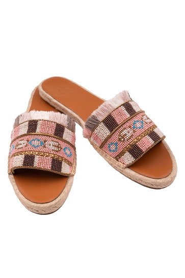 Chaussons Franges Rose clair