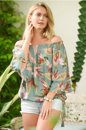 Blouse Bibi Palm Springs Groen