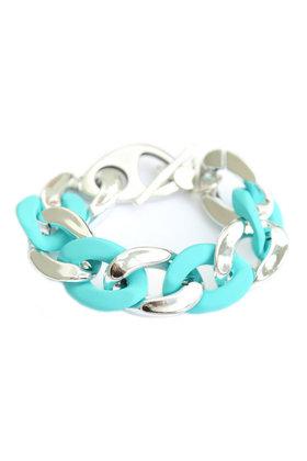 Bracelet Grande Chaîne Argent Turquoise