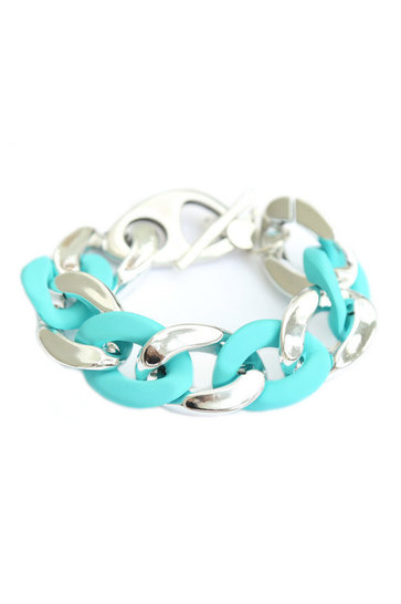Bracelet Large Chain Silver Turquoise