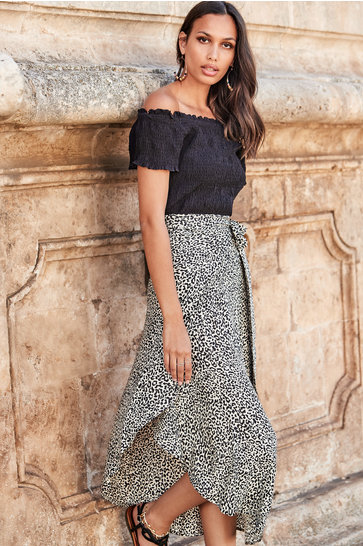 Maxi wrapskirt Kate Leopard Black