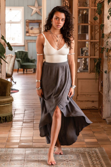 Maxi Wrap Skirt Angel Gray