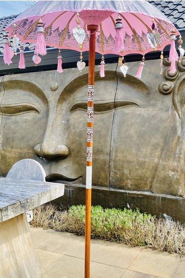 Balinesischer Sonnenschirm 100cm Rosa/Silber