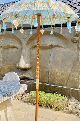 Balinese Parasol 100 dm Aqua/Goud