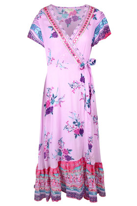 Maxi Wrap Dress Rainbow Lilac