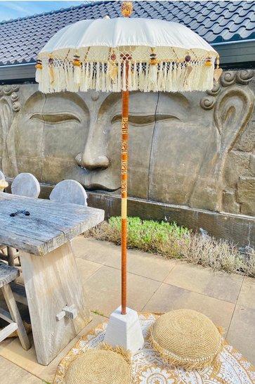Balinesischer Sonnenschirm 100cm Weiß