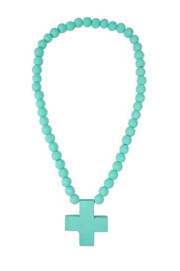Ornamental Necklace Cross Turquoise
