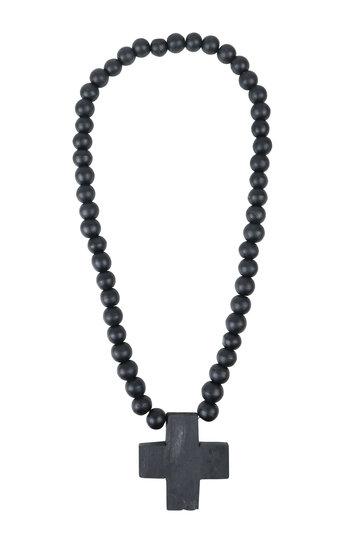 Collier Ornemental Croix Noir
