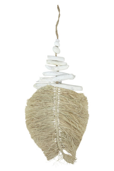 Decoratie Hanger Leaf Wit