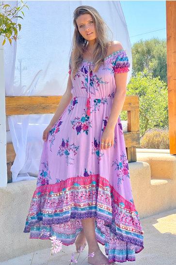 Vestido Largo Hombros Descubiertos Lila Arcoíris