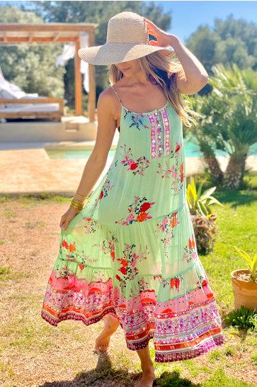 Maxi Dress Rainbow Mint