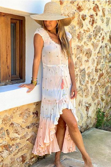 Maxi Dress Pepita Peach