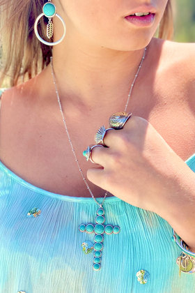 Ketting Timeless Cross Turquoise Zilver
