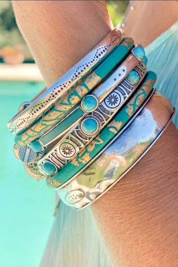 Armband Timeless Jonc Turquoise Zilver