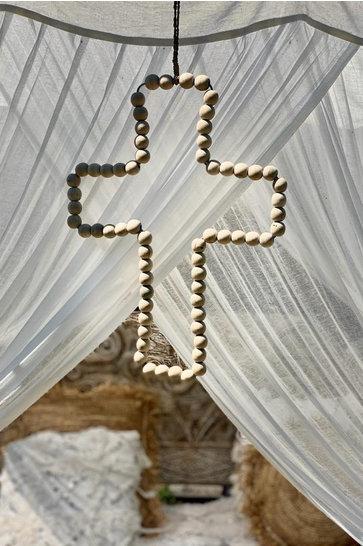 Deko Kreuz Holzperlen natürlich