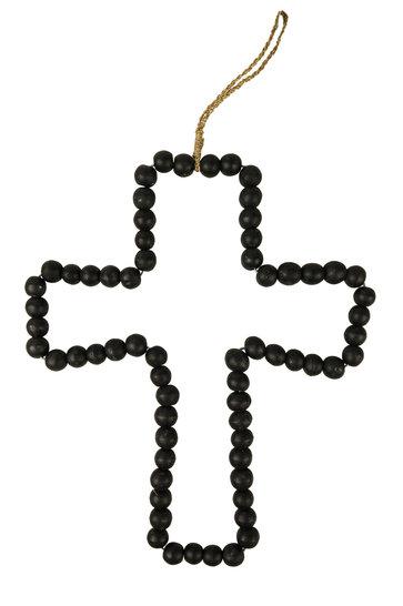 Deco Kruis Houten Kralen Zwart