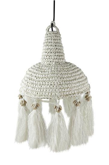 Lampe Palmgras Muschel Weiß