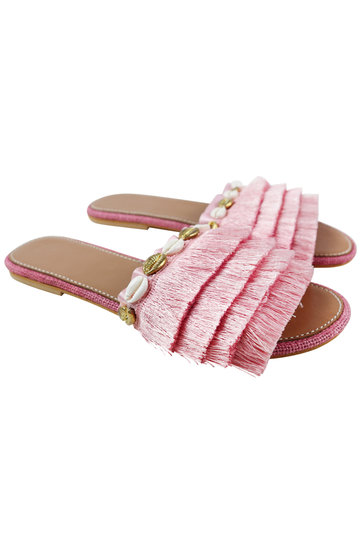 Chaussons Frange Coquillages Rose