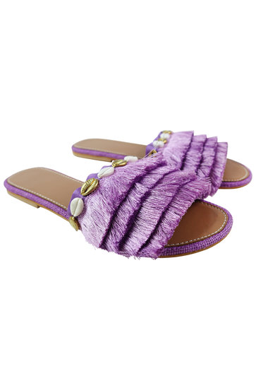 Chaussons Frange Coquilles Lilas