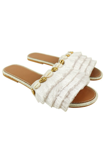 Chaussons Frange Coquillages Blanc