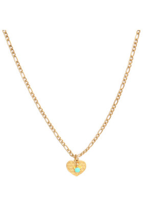 Ketting Heart Gold Turquoise Star Goud