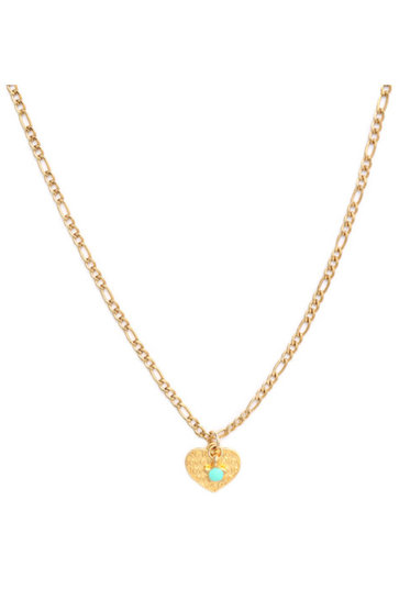 Collier Coeur Or Turquoise Etoile Or