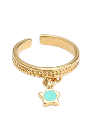 Ring Turquoise Star Goud