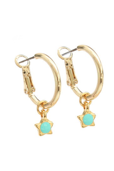 Boucle d'Oreille Turquoise Etoile Or