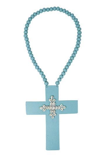 Ornamental Necklace Cross Shells Aqua