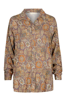 Blusa Mysterious Indian Flowers Marrón