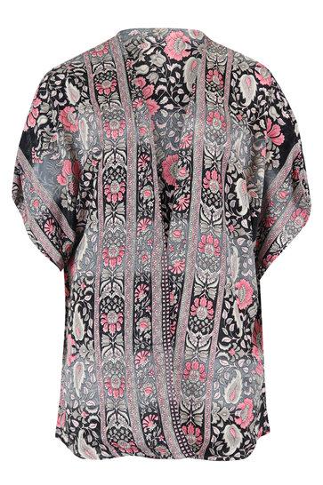 Kimono Kort Rosa Flowers