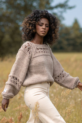 Knitted Sweater Open Chunky Mocha