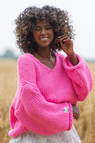 Knitted Sweater Knitting Neon Pink