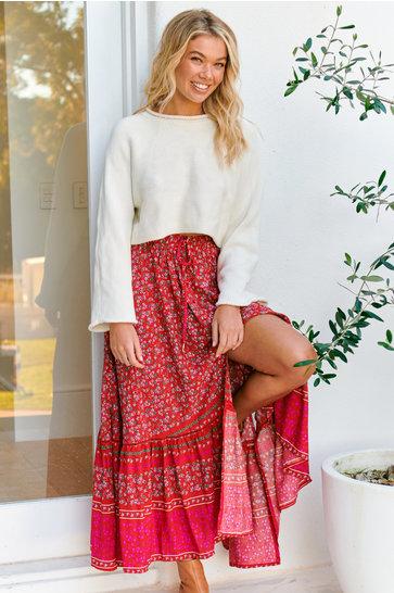 Maxi Skirt Hibiscus Daphne Indian Red