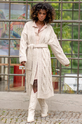 Knitted Cardigan Chunky Beige
